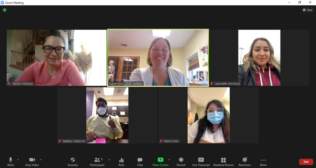 NIMAA students and instructor meet over Zoom